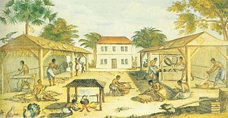 Slaves processing tobacco in 17th-century Virginia, illustration from 1670 1670 virginia tobacco slaves.jpg