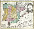 1730 Homann Map of Spain and Portugal - Geographicus - Hispania-homann-1730.jpg