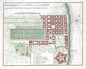 History of Cape Town - Map of Cape Town in 1750