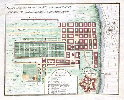 1750 Bellin Map of Cape Town, South Africa - Geographicus - Gundriss-bellin-1750