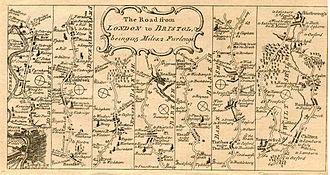 A4 road (England) - Strip Map of Bath Road 1786.