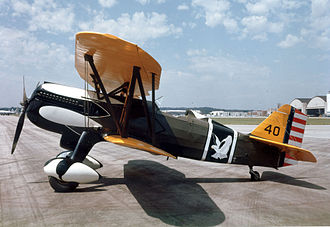 17th Weapons Squadron - Curtiss P-6E Hawk AAC Ser. No. 32-261 at the National Museum of the United States Air Force  in the colors and markings of the airplane assigned to Capt. Ross G. Hoyt, Commanding Officer of the 17th Pursuit Squadron, 1st Pursuit Group, based at Selfridge Field, Mich. in 1933.