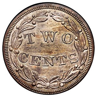 Two-cent billon - Image: 1836 P2C Two Cents (Judd 52) (rev)