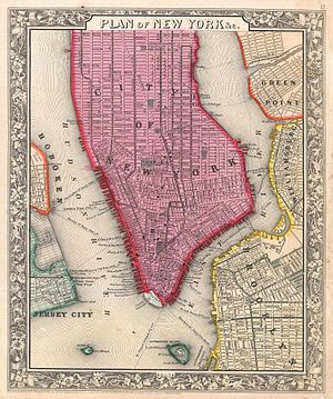 History of New York City (1855–97) - 1860 map of New York City