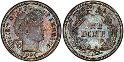 1894-S Barber dime
