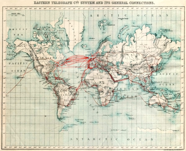 Eastern Telegraph Company network in 1901. Dotted lines across the Pacific indicate then-planned cables laid in 1902-03. 1901 Eastern Telegraph cables.png