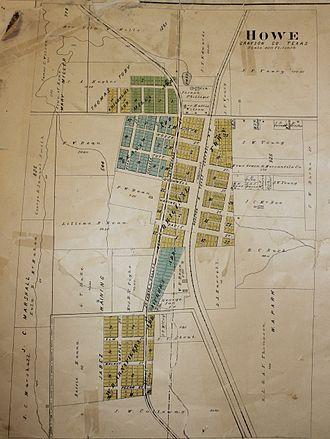 Howe, Texas - 1910 map of Howe