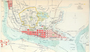 Timeline of Yangon - Image: 1911 map Rangoon John Murray