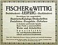 1914 circa Annonce Fischer & Wittig Buchdruckerei Leipzig zur Bugra.jpg