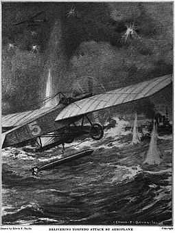 In 1915, Rear Admiral Bradley A. Fiske conceived of the aerial torpedo. 1915 Aerial torpedo.jpg