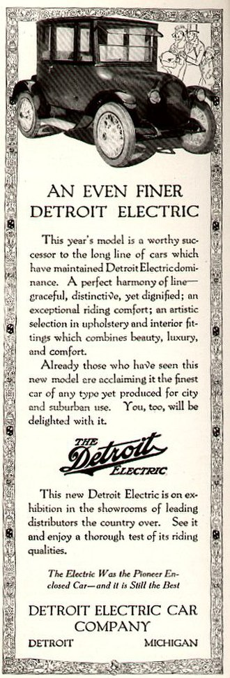 Detroit Electric - 1920 advertisement