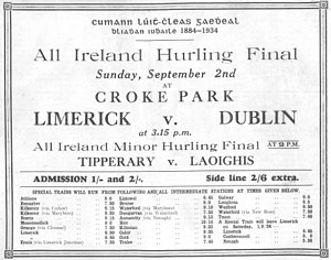 1934 All-Ireland Senior Hurling Championship - Image: 1934 All Ireland ad