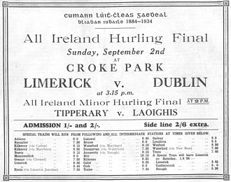 1934 All-Ireland Senior Hurling Championship - Image: 1934 All Ireland ad