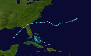 1957 Atlantic hurricane season - Image: 1957 Atlantic tropical storm 1 track
