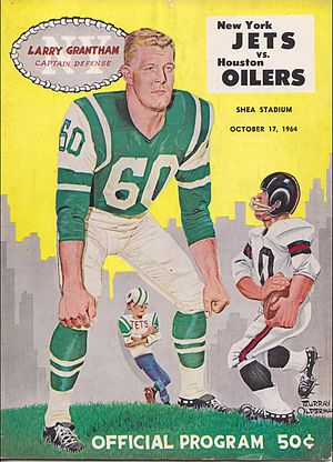 1963 New York Jets season - 1964 game program showing the original Jets uniform, established in 1963. The helmet is not shown.