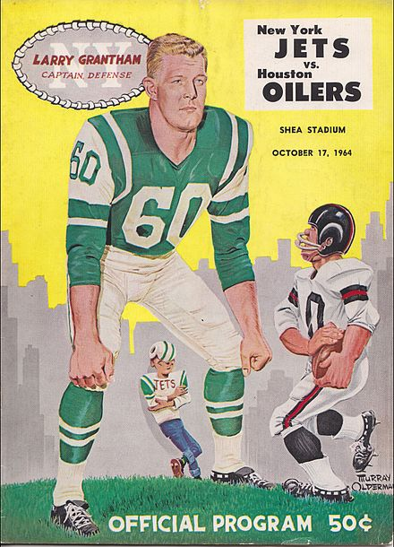 This 1964 game program cover shows how the original Jets jersey sleeves  were tailored 2f7738bda