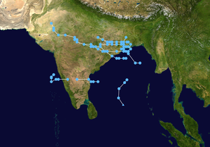 1990 North Indian Ocean cyclone season - Track summary of tropical depressions