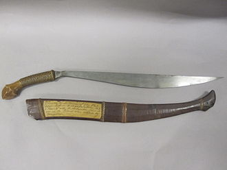 Bolo knife - Bolo knife given to Captain Lewis A. Kimberly, Commander of USS Beneica by the Governor of Cebu, Philippines. USS Beneica participated in the US Expedition to Korea in 1871.