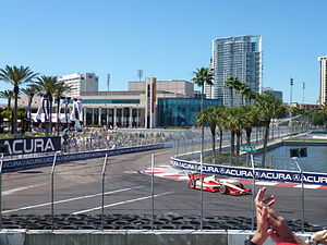 Firestone Grand Prix of St. Petersburg - Helio Castroneves approaches Dan Wheldon Way (Turn 10) on the final lap of the 2012 Honda Grand Prix of St. Petersburg