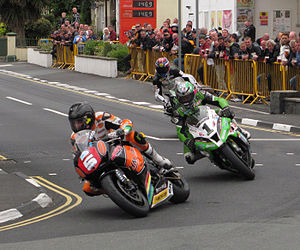 Ramsey, Isle of Man - 2013 TT races through Parliament Square