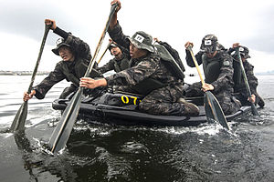 Republic of Korea Marine Corps - ROKMC Recon conducting Group-Endurance Training.