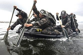 Republic of Korea Marine Corps - ROKMC Recon conducting Group-Endurance Training.