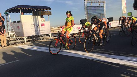 2015 Ladies Tour of Qatar 2015 Ladies Tour of Qatar Cucinotta winning stage 1.jpg