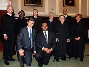 National Moot Court Competition -  Dane Shikman and Kyle Singhal (center) of the George Washington University Law School won the 2015 National Moot Court Competition, defeating Georgetown University before a seven-justice bench.