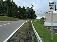 2017-07-24 09 01 39 View north along West Virginia State Route 41 (Broad Street) at U.S. Route 19 in Summersville, Nicholas County, West Virginia.jpg