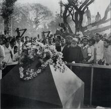Maulana Abdul Hamid Khan Bhashani after laying the foundation stone for Shaheed Minar, 21 February 1956