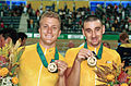 231000 - Cycling track Darren Harry Paul Clohessy gold medals - 3b - 2000 Sydney medal photo.jpg