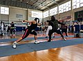 2nd Leonidas Pirgos Fencing Tournament. Andriana Theodoropoulou lunges the thigh of her coach Mr. George Passas.jpg