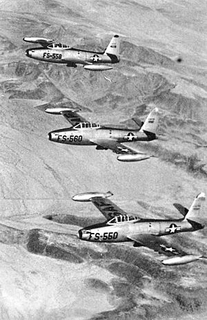 Luke Air Force Base - Flight of three F-84Cs over the Arizona desert from the 3600th Flying Training Wing