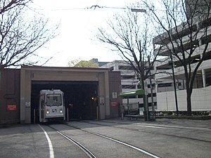 36th Street Portal - A Route 10 trolley emerges from the 36th Street Portal.