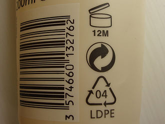 """Green Dot (symbol) - Black-and-white version of the """"Der Grüne Punkt"""" DSD logo on a bottle of lotion, located between the PAO symbol and the resin identification code for LDPE, next to an EAN-13 barcode."""