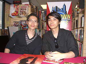 Luna Brothers - Joshua Luna (left) and Jonathan Luna (right) at a signing at Midtown Comics Grand Central, May 13, 2010.