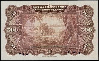 Congolese franc - Image: 500 Belgian Congo francs, reverse 1943