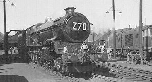 GWR 6000 Class 6000 King George V - 6000 King George V at Swindon having just hauled the last King-hauled train from Wolverhampton and Birmingham Snow Hill (1962). Note the bell which was given to the engine when it toured the U.S. This engine is now preserved.