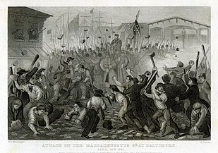 A black and white lithograph depicting a formation of militia soldiers with bayonets fixed surrounded by rioters