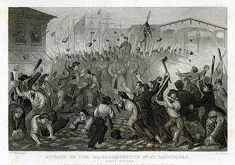 6th Regiment Massachusetts Volunteer Militia - Image: 6th Massachusetts Militia attacked in Baltimore 1861