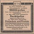 700 gebrauchte Militärpelze, 800-1000 Nacktpelze und 1000 stark gebrauchte Pelzjacken und Westen zu verkaufen, 1921.jpg