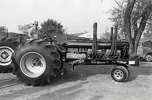 National Tractor Pullers Association - A very old modified tractor, with 2 automotive engines. Circa 1976. Notice the stock-appearing body work.