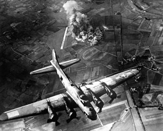 American 8th Air Force Boeing B-17 Flying Fortress bombing raid on the Focke-Wulf factory in Germany, 9 October 1943 8th AF Bombing Marienburg.JPEG