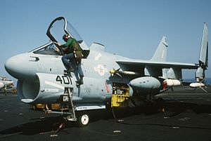 Suppression of Enemy Air Defenses - An A-7E of VA-72 aboard the USS America (CV-66) prior to Operation El Dorado Canyon.  It is armed with AGM-45 Shrike ARMs and Mk-20 Rockeye II cluster bombs.