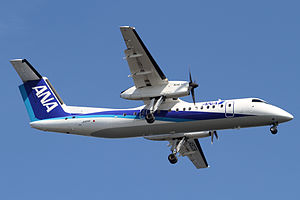 ANA Wings - An ANA Wings Bombardier Dash 8 Q300 landing at Haneda Airport, Tokyo, Japan. (2012)