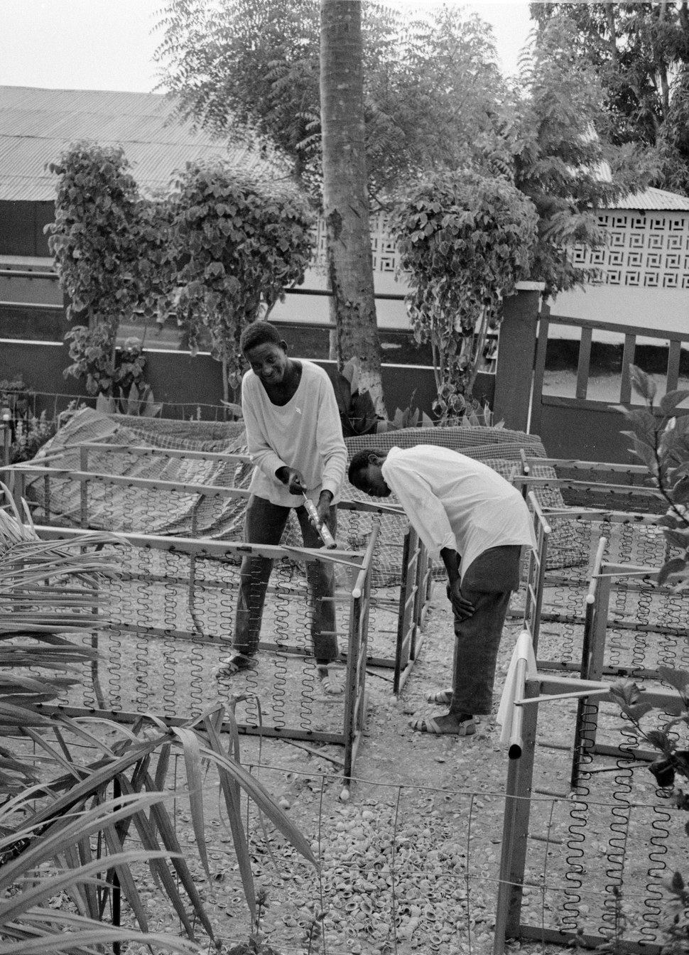 ASC Leiden - Coutinho Collection - 27 09 - Ziguinchor hospital, Senegal - Cleaning the hospital and the hospital beds - 1973