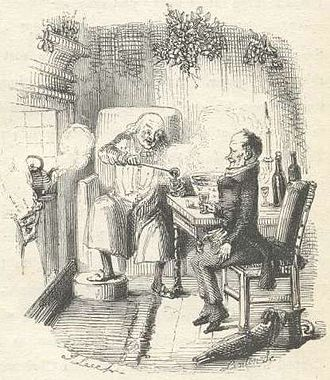 Ebenezer Scrooge - Scrooge and Bob Cratchit illustrated by John Leech in 1843