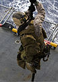 A U.S. Marine assigned to the 26th Marine Expeditionary Unit (MEU) maritime raid force participates in fast rope training aboard the amphibious assault ship USS Kearsarge (LHD 3) in the Atlantic Ocean March 19 130319-M-BS001-046.jpg