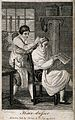 A barber dressing a man's hair. Engraving by Tomlinson. Wellcome V0019651.jpg