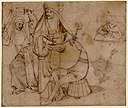 A fool, seated on a basket, about to be shaved by a nun holding a wafer iron by Hieronymus Bosch.jpg